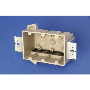 """Allied Moulded 3300-2Z2K Switch/Outlet Box with Bracket, Depth: 3"""", 3-Gang, Non-Metallic"""