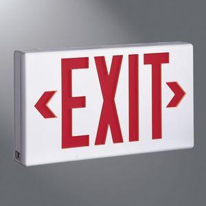 Sure-Lites LPX7SD LED Exit Sign, Polycarbonate, White Housing, Universal Face