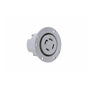 Pass & Seymour L1630-FO Flanged Outlet, 30A, 480V, 3PH, Gray