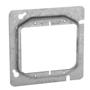 "Hubbell-Raco 818 4-11/16"" Square Cover, 2-Device, Mud Ring, 5/8"" Raised, Drawn"