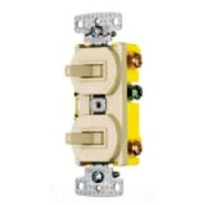 Hubbell-Wiring Kellems RC101W Combination Switch, Toggle, (2) 1-Pole, 15A, 120V, Ivory