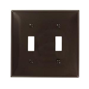 Leviton 80709 Toggle Switch Wallplate, 2-Gang, Nylon, Brown