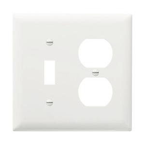 Pass & Seymour TP18-W Wallplate, 2-Gang, Toggle/Duplex, Nylon, White