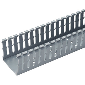 "Panduit F1.5X3LG6 Wiring Duct,  Narrow Slot, 1-1/2"" x 3"" x 6', PVC, Gray"