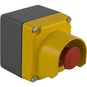 Square D 9001KYG1Y2 Control Station, Yellow Guarded Cover, Red, Turn to Release, Mushroom