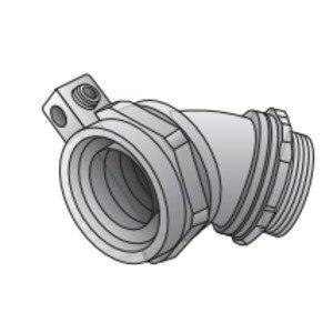 "Appleton 4QS-475T Liquidtight Connector, 45 Degree, 3/4"", Non-Insulated, Malleable Iron"