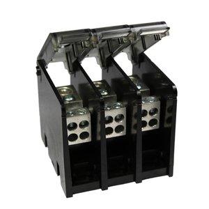Burndy BDBLHC225003 Power Distribution Block, 3-Pole, (2) 4 - 500 Run/Tap