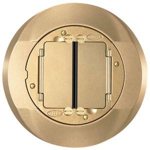 "Hubbell-Kellems S1CFCBRS Round Universal Cover, Diameter: 4"", Aluminum/Brass Finish"