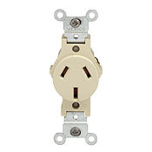 Leviton 5032-I 20A Heavy Duty Flush Mount Receptacle, 125/250V, 10-20R, Ivory