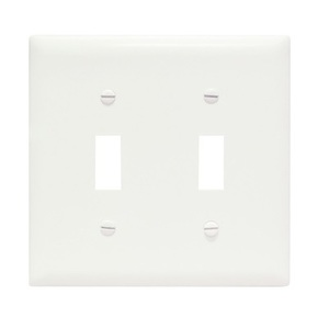 Pass & Seymour TP2-W Toggle Switch Wallplate, 2-Gang, Nylon, White