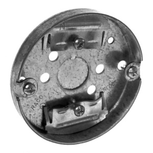 "Hubbell-Raco 292 3-1/2"" Ceiling Pan, 9/16"" Deep, 1/2"" KOs, Metallic"