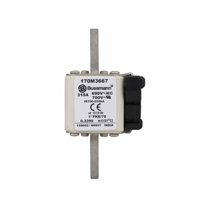 Eaton/Bussmann Series 170M3667 315A Square Body Fuse, US Style, Size 1, Type K Indicator, 690/700V
