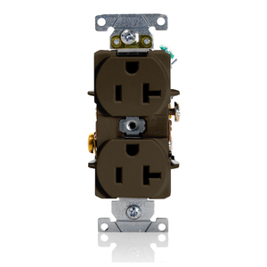 Leviton 5352 Duplex Receptacle, 20A, 125Volt, Narrow, 5-20R, Brown