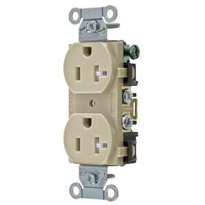 Hubbell-Wiring Kellems BR20ITR Tamper Resistant Duplex Receptacle, 20A, 125V, Ivory
