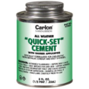 Carlon VC9983 PVC Cement, All Weather, Quick-Set, Clear, 1 Pint