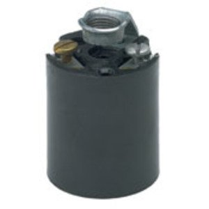 Leviton 3352-8 Incandescent Lampholder, Phenolic, Medium Base, Black