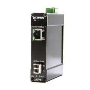 N-TRON 1002MC-SX Media Converter, Multi-Mode Fiber, 10-30VDC, 200mA, 3 Port