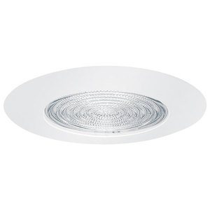 """Elite Lighting AF605WH Socket Supporting Metal Fresnel Shower Trim, 6"""", White"""