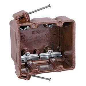 "Thomas & Betts 1052-C Switch/Outlet Box, 2-Gang, Depth: 3-1/8"", Nail-On, Brown, Non-Metallic"