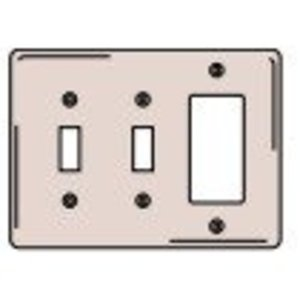 Hubbell-Kellems SS226 Combination Wallplate, 3-Gang, 2-Toggle, 1-Decorator