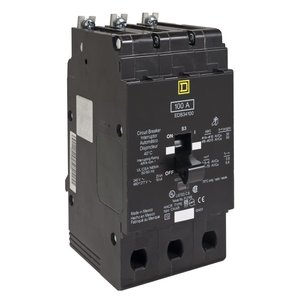 Square D EJB34100 Breaker, Bolt On, 3P, 100A, 480Y/277VAC, 65kAIC, Thermal Magnetic