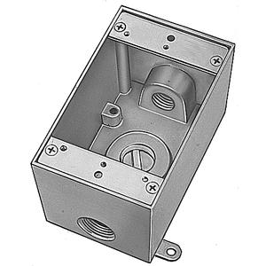 """Red Dot DIH3-1-LM Weatherproof Outlet Box, 1-Gang, 2"""" Deep, (3) 1/2"""" Hubs, Aluminum"""