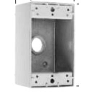 """Pass & Seymour WPB23-W Weatherproof Outlet Box, 1-Gang, 2"""" Deep, (3) 1/2"""" Hubs, Aluminum"""