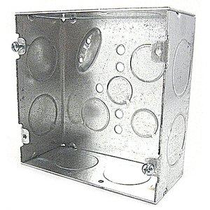 "Bowers 5-SDW-1 4-11/16"" Square Box, Welded, 2-1/8"" Deep, 1/2 & 3/4"" KOs"