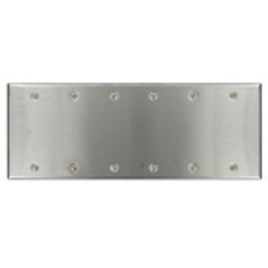 Leviton 84066-40 Blank Wallplate, 6-Gang, 302 Stainless Steel, Standard, Box Mnt