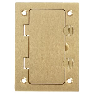 Hubbell-Kellems S3826 Rectangular Floor Box Cover, Styleline Flap, Brass