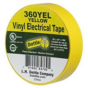 "Dottie 360YEL Vinyl Plastic Electrical Tape, Yellow, 3/4"" x 60'"