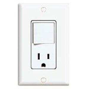 Leviton 5645-W Decora Style 3-way / 5-15R AC Combination Switch, 15A, 120V, White