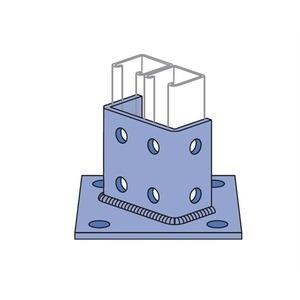 "Power-Utility Products AS-3064-SQ-EG Strut Post Base, Single, 6 X 6 X 3-1/2"", Steel/Electro-Galvanized"