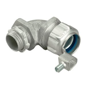 "Thomas & Betts 5252ALGR Liquidtight Grounding Connector, 90°, Size: 1/2"", Aluminum"