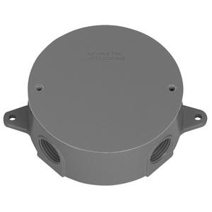 "Appleton WRX75CG Weatherproof Round Box, Diameter: 4"", Depth: 2"", (5) 3/4"" Hubs"