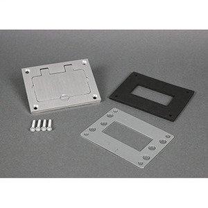 "Wiremold 828GFITCAL GFI Cover Plate, 3.156 x 4.182"", Flip Lid, Aluminum"