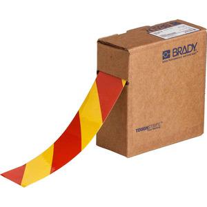 "Brady 132430 Floor Marking Tape, 2""x100', Red/Yellow Striped"