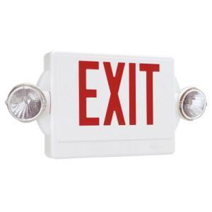 Lithonia Lighting LHQMSW3RM4 Combo Exit Sign/Emergency Light, LED, 2-Head, Red Letters *** Discontinued ***