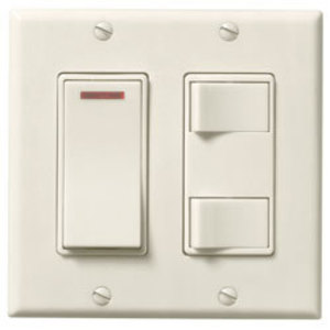Broan 685VL 3-FUNCTION, 2-GANG CONTROL. ONE SMOOTH ACTION ON/OFF ROCKER SWITCH WITH PILOT LIGHT WHICH GLOWS WHEN POWER IS ON ONE 2-FUNCTION CONTROL WITH SEPARATE ON/OFF SWITCHES.