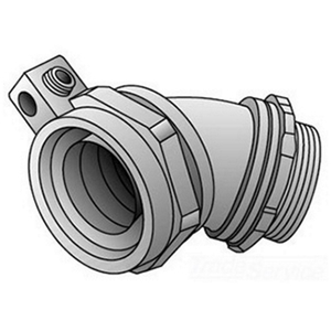 """OZ Gedney 4Q-475LT Liquidtight Grounding Connector, 45°, 3/4"""", Insulated, Malleable Iron"""