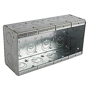 """Steel City 4-MBS Masonry Box, 4-Gang, 2-1/2"""" Deep, 1/2"""" & 3/4"""" KOs, Steel"""