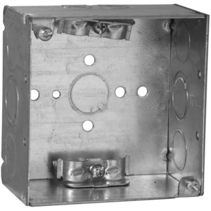 """Hubbell-Raco 242 4"""" Square Box, Welded, Metallic, 2-1/8"""" Deep, NM Cable Clamps"""