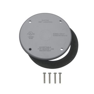 "Carlon E365C-CAR Weatherproof Round Cover, Diameter: 4"", Gray, Non-Metallic, Limited Quantities Available"