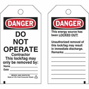 "Brady 50253 Lockout Tag, DANGER: DO NOT OPERATE Contractor, 5.75"" x 3"""
