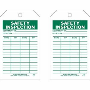 "Brady 86611 Safety Inspection Tag, 7"" x 4"", Polyester"