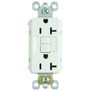Pass & Seymour PT2097-W Plug Tail Spec-Grade GFCI Receptacle, Self-Test, 20A, White