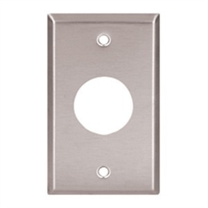 "Mulberry Metal 93091 Single Receptacle Wallplate, 1-Gang, (1) 1.405"", Stainless Steel"