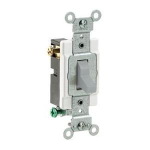 Leviton CS320-2GY 3-Way Switch, 20 Amp, 120/277V, Gray, Side Wired, Commercial Grade