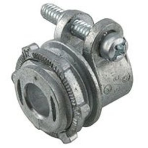 """Hubbell-Raco 2191 AC Cable Connector, 3/8"""", Squeeze Type, Non-Insulated, Zinc Die Cast"""