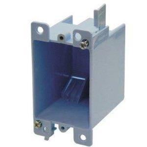 "Cantex EZ14SO Switch/Outlet Box, 1-Gang, Depth: 2-7/8"", Brackets, Non-Metallic"